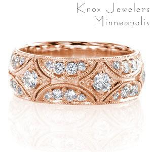 Rose gold band with bead set diamonds in Rochester.