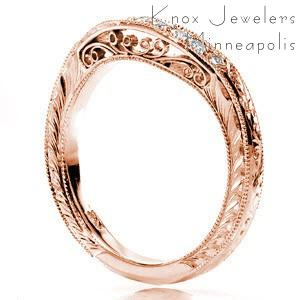 Chicago unique rose gold wedding bands with hand engraving, filigree, and micropave diamonds.