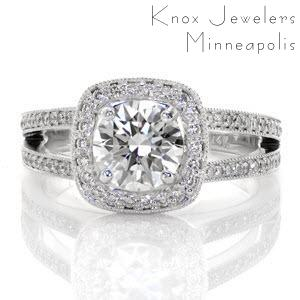 Halo engagement ring in Montreal with round brilliant center stone and split shank band.