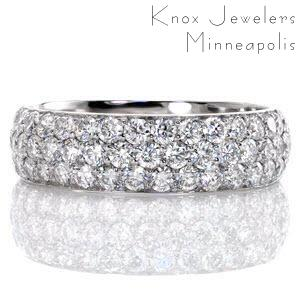 Micro pave wedding band in Forth Worth with three rows of diamonds in white gold.