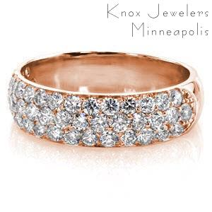 Indianapolis custom rose gold wide ring with a rounded band and three rows of micro pave diamonds.