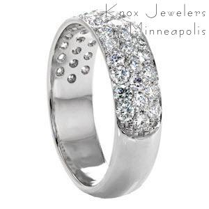 El Paso custom wide ring with a rounded band and three rows of micro pave diamonds.