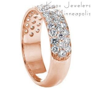 Milwaukee custom rose gold wide ring with a rounded band and three rows of micro pave diamonds.