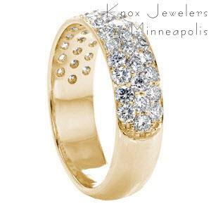 Toronto custom wide ring with a rounded band and three rows of micro pave diamonds.