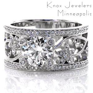 Floral micropave diamond engagement ring