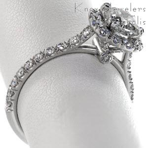 Cushion cut micro pave halo engagement ring with claw prongs