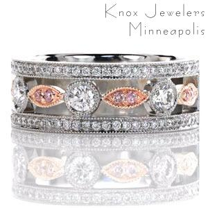 "Knox Heirloom Band ""Dolce"" with fancy pink diamonds set in 14k Rose Gold."