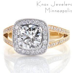 Louisville custom two tone engagement ring featuring a round diamond center surrounded by a bead set diamond halo and split band.
