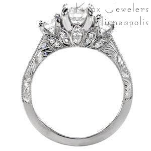 Grand Rapids custom three stone engagement ring with a bead set diamond band and floral profile design.