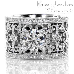 "Knox Heirloom Band ""Caledonia"" with 1.00 ct. round brilliant center diamond."