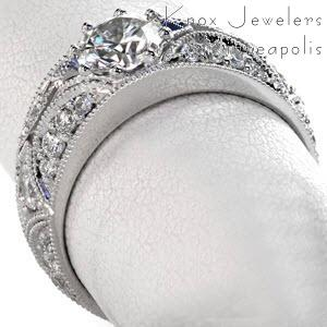 Vintage Style Engagement Ring with hand cut micro pave set diamonds