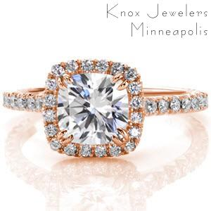 Micro pave engagement ring in Tucson with cushion cut center stone and diamond halo.