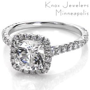 Nashville custom engagement ring with a micro pave diamond halo surrounding a cushion cut center diamond.