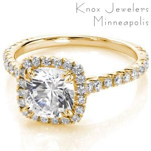 San Francisco custom engagement ring with a micro pave diamond halo surrounding a cushion cut center diamond.