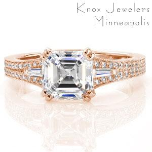 Custom engagement ring in Madison with asscher cut center stone and diamond band.