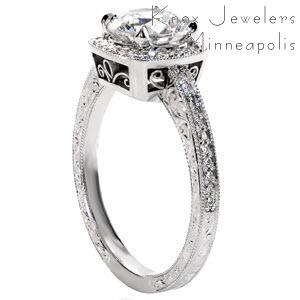 Hastings antique engagement ring with hand engraving, filigree and cushion shaped halo.