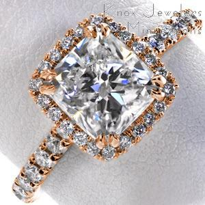 Rose gold engagement ring in Anaheim with cushion cut center stone and cushion halo.