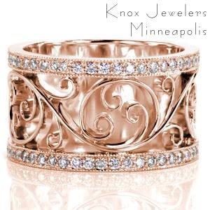 Filigree band in Miami with scroll patterns between diamond bands.