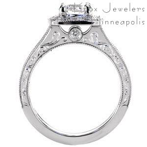 New Haven custom engagement ring with a halo design and profile view featuring scroll engraving, milgrain and a bezel set surprise stone.