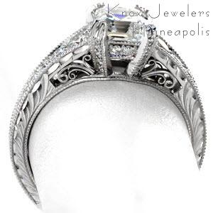 Filigree and Hand Engraved Engagement Ring in Seattle