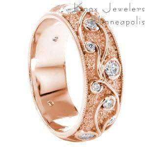 Rose gold wedding ring in Colorado Springs with filigree and bezel set round diamonds.
