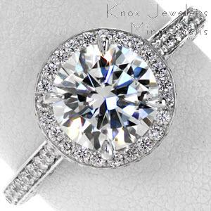 hand cut Micro pave engagement ring with three sided pave shank