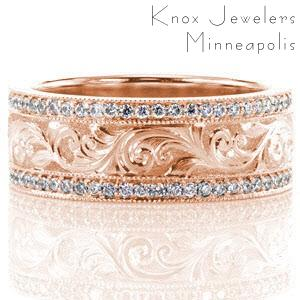 Rose gold wedding band with scroll engraved pattern between diamond bands in Allentown.