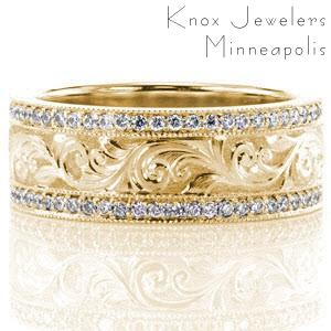 Austin unique yellow gold wedding bands with expressive, detailed hand engraving and micropave diamonds.