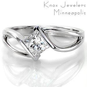 Modern engagement ring solitaire in Milwaukee.