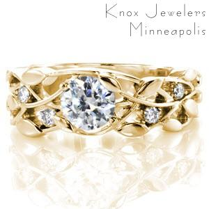 Sioux Falls custom engagement ring with a round diamond center and a nature inspired leaf and vine patterned band.