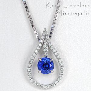 Diamond and Sapphire Rain Drop - Pendants