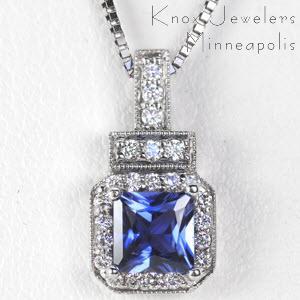 Art Deco Sapphire Pendant - Pendants