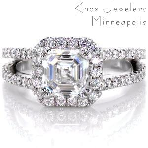 Split shank micro pave engagement ring with Asscher center diamond
