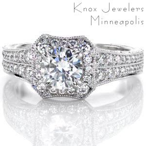 Micro pave engagement ring in Memphis with a diamond halo and double row diamond band.