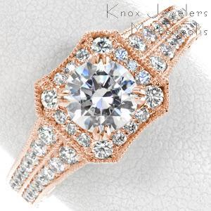 Philadelphia rose gold engagement ring with a double row diamond band and beveled edge halo.