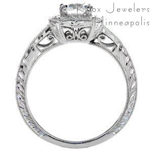 Unique halo engagement ring with hand engraving and filigree