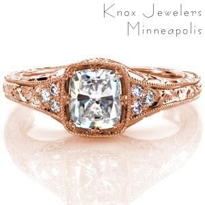 Antique inspired custom engagement ring in San Jose with a unique cushion cut center setting surrounded by bead set side diamonds and hand engraving.