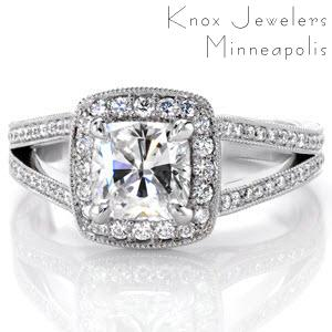 Regal quality and elegant hand engraved scroll-work set apart Design 2478 from the rest. Graceful joining of a bead set, bright cut halo with split shank eternity set diamond bands creates a heirloom-quality piece that showcases the fiery 1.25 ct cushion cut center diamond.