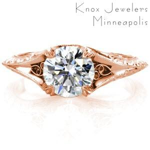 Jacksonville rose gold engagement ring with round center stone, filigree and hand engraving.