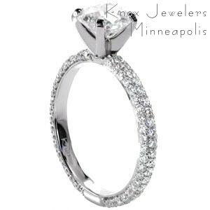 Cleveland micro pave engagement ring with round brilliant center stone.
