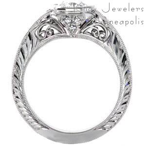 Tucson engagement ring with filigree, hand engraving and milgrain.
