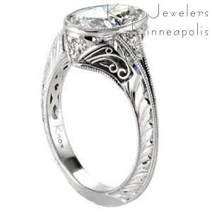 Engagement ring in Minneapolis featuring hand engraving and filigree