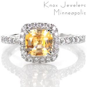 Yellow sapphire halo engagement ring