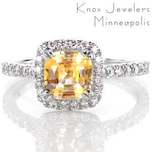 Yellow sapphire halo engagement ring