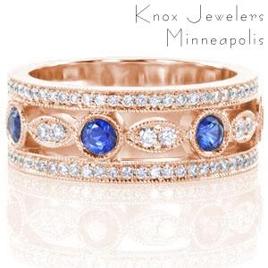 Rose gold wedding ring in Jacksonville with blue sapphires and micro pave diamonds.
