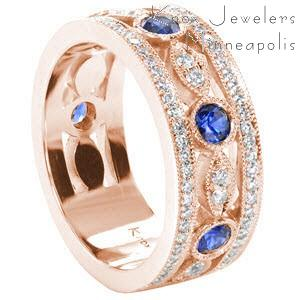 Rose gold wedding ring in Dayton with round blue sapphires, micro pave diamonds and milgrain.