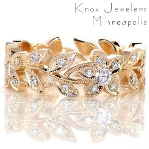 Unique wedding rings in Raleigh with nature inspired floral patterns.