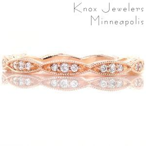 Primrose - Eternity Bands - Rose Gold, Leaf Eternity Band