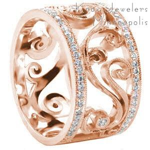 Rose gold diamond band in Fort Worth with scroll filigree between diamond bands.