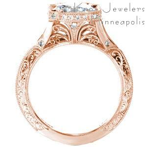 Vintage rose gold engagement ring inspiration in Seattle. This beautiful design features hand engraved designs, hand wrought filigree, micro pave diamonds in a horizontal halo, and a split shank band.
